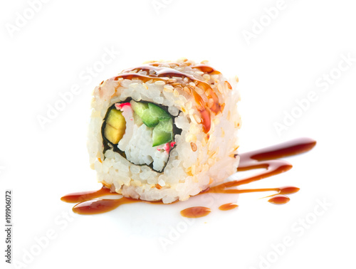 Tuinposter Sushi bar Sushi roll isolated on white background. California sushi roll with tuna, vegetables and unagi sauce closeup