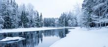 Sunrise River In A Cold Winter...