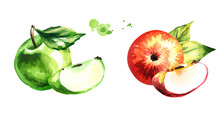 Set With Red And Green Apples....