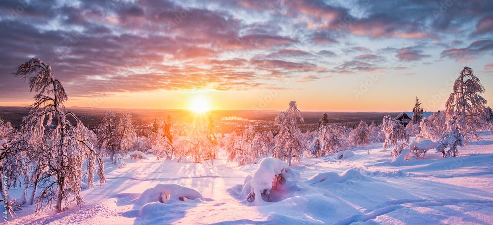 Fototapeta Winter wonderland in Scandinavia at sunset