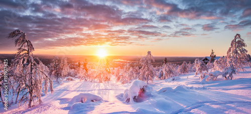 Staande foto Zalm Winter wonderland in Scandinavia at sunset