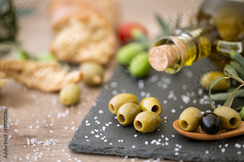 mix healthy olive on the wooden table .