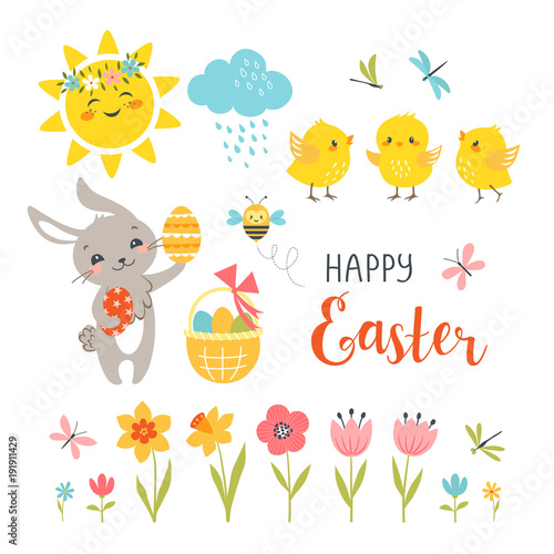Obraz na plátně  Cute Easter bunny, chicks, spring flowers, butterflies, dragonflies, bee, sun, cloud and hand drawn text isolated on white background