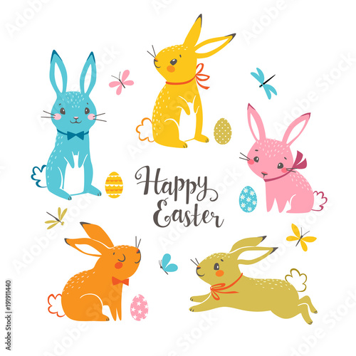 Obraz na plátně  Set of cute colorful Easter bunnies, Easter eggs, butterflies, dragonflies and hand drawn text