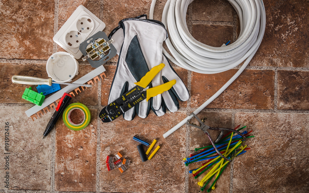 Tools for electrical installation, close-up - obrazy, fototapety, plakaty
