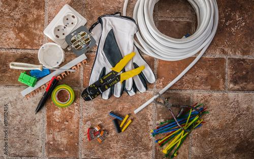Fototapeta Tools for electrical installation, close-up obraz na płótnie
