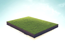 Isolated 3d Illustration Green Grass Isometric Cut, White Background.