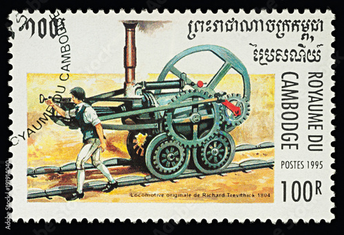 First railway steam locomotive by Richard Trevithick (1804)