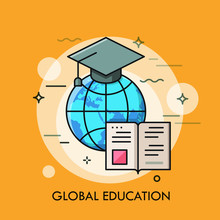 Globe With Graduation Cap And ...