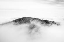 Grib Goch Ridge Peeking Through The Clouds, Snowdonia
