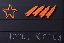 Word Of Rice To North Korea, Conceptual Collage On The Theme Of Nuclear War With North Korea, A Nuclear Missile In The Form Of Carrots, Political Conflict, The 2018 Winter Olympics