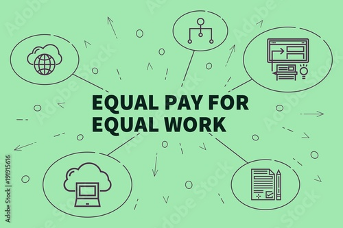 Conceptual business illustration with the words equal pay for equal work Tablou Canvas