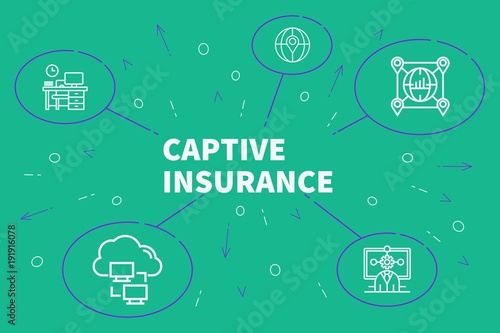 Fotografia, Obraz Conceptual business illustration with the words captive insurance