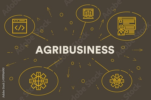 Conceptual business illustration with the words agribusiness Canvas Print