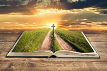 Open Bible Cross In Sky