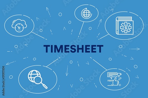 Conceptual business illustration with the words timesheet Canvas Print