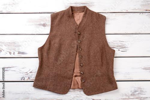 Female brown vest, top view Fototapeta