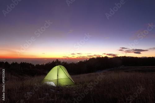 Fotografie, Obraz Lighting Tent At The Sunset In Etna Park, Sicily