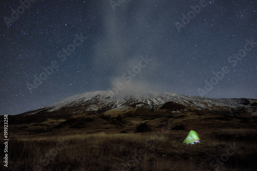 Fényképezés  Lighting Tent Under Winter Etna Mount And Starry Night, Sicily