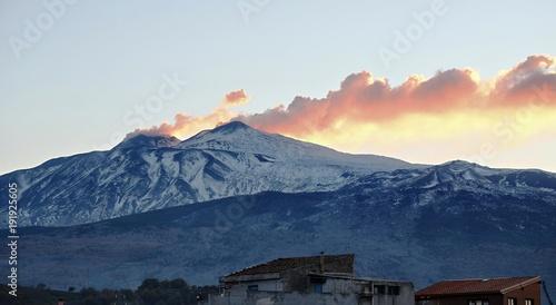 Vászonkép  Smoke Etna Summit At Twilight, Sicily