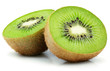canvas print picture - Two halves of ripe kiwi fruit isolated on white background
