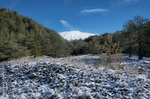 Fényképezés  Volcanic Rock In Winter View Etna Park, Sicily