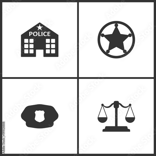 68848a65e0c Vector Illustration Set Medical Icons. Elements of Police station ...