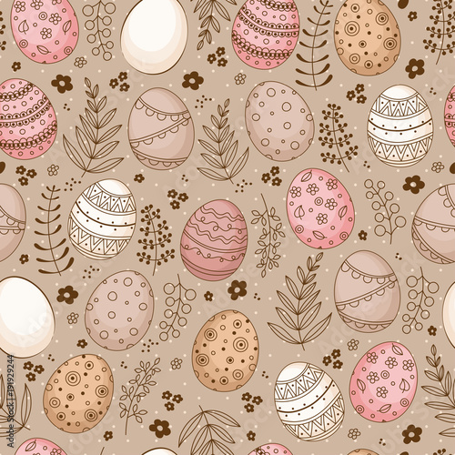 Cotton fabric Seamless Easter pattern with doodle ornamental eggs and floral motifs. Vintage spring easter holiday colorful background. Eggs, flowers, branches and berries.