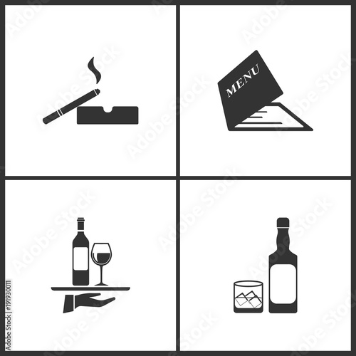 vector illustration set medical icons elements of cigarette and