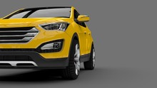 Compact City Crossover Yellow Color On A Gray Background. 3d Rendering.