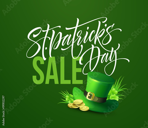 saint patricks day sale poster lettering banner template vector