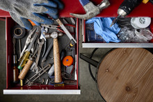 Overhead View Of Drawers Full Of Tools In A Workshop