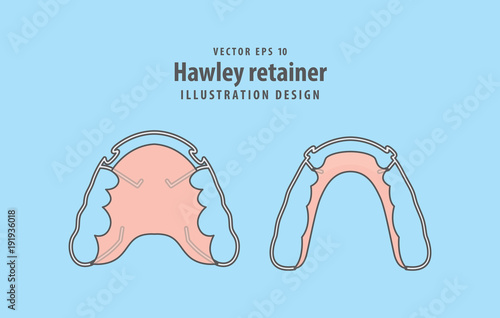 Hawley retainer illustration vector on blue background Wallpaper Mural