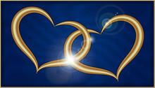 Two Golden Hearts On Blue Velvet