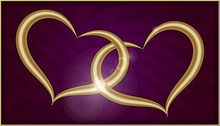 Two Golden Hearts On Purple Ve...