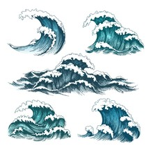 Sea Waves. Vintage Cartoon Oce...