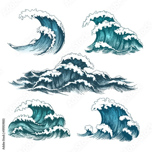 Sea waves. Vintage cartoon ocean tidal storm waves isolated on white background for surfing and seascape, vector illustration Fototapete
