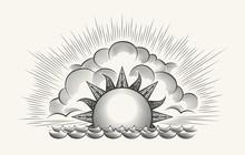 Sunrise Engraving Illustration...
