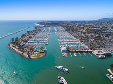 Aerial View Of Harbor With Luxury Boats And Yachts In Orange County, Southern California