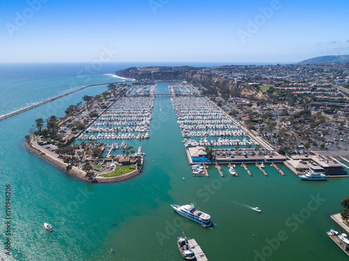 Canvas Print Aerial view of harbor with luxury boats and yachts in Orange County, Southern Ca