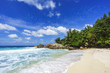Beautiful tropical beach,palms,white sand,granite rocks,seychelles 17