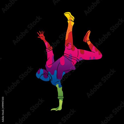 Fototapeta Street dance, B boys dance, Dancing action designed using colorful graffiti graphic vector obraz na płótnie