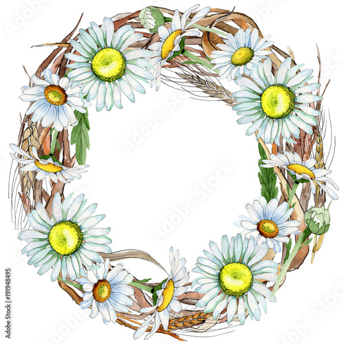 Canvas Prints Ladybugs Wildflower chamomile flower wreath in a watercolor style. Full name of the plant: chamomile. Aquarelle wild flower for background, texture, wrapper pattern, frame or border.