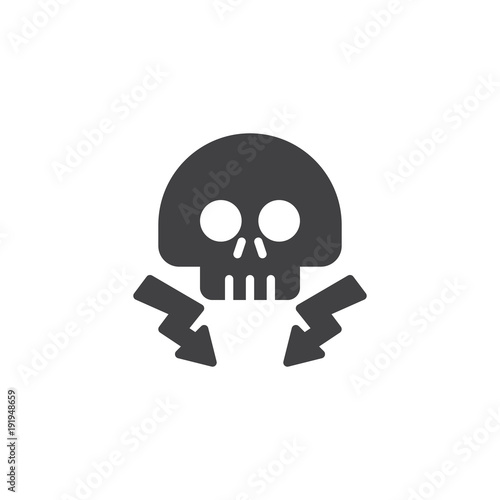 High voltage death skull with lightning beam icon vector
