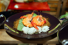Rice Noodles With Shrimps Clos...