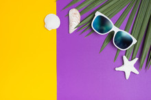 Set Of Summer Object Sunglasses Sky Reflect, Star Fish,shell And Palm Leaf On Vivid Yellow Purple Background.Holiday Vacation Backdrop.Copy Space For Display Of Product Or Content Design.