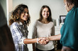canvas print picture - Diverse woman shaking hands