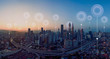 canvas print picture Panorama aerial view in the  cityscape skyline  with network connection concept , early morning sunrise scene .
