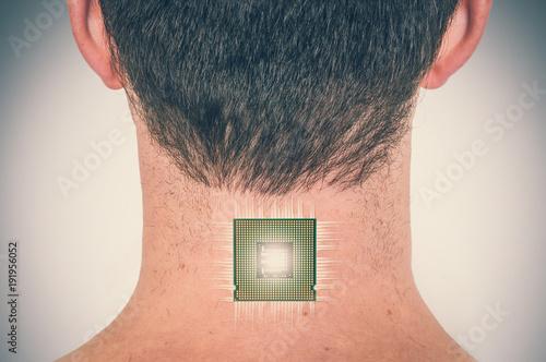 Fotografie, Obraz  Bionic chip (processor) implant in male human body