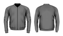 Bomber Jacket In Black. Front And Back Views. Vector